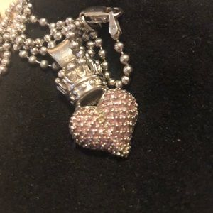 King baby- pink queen puffy heart necklace
